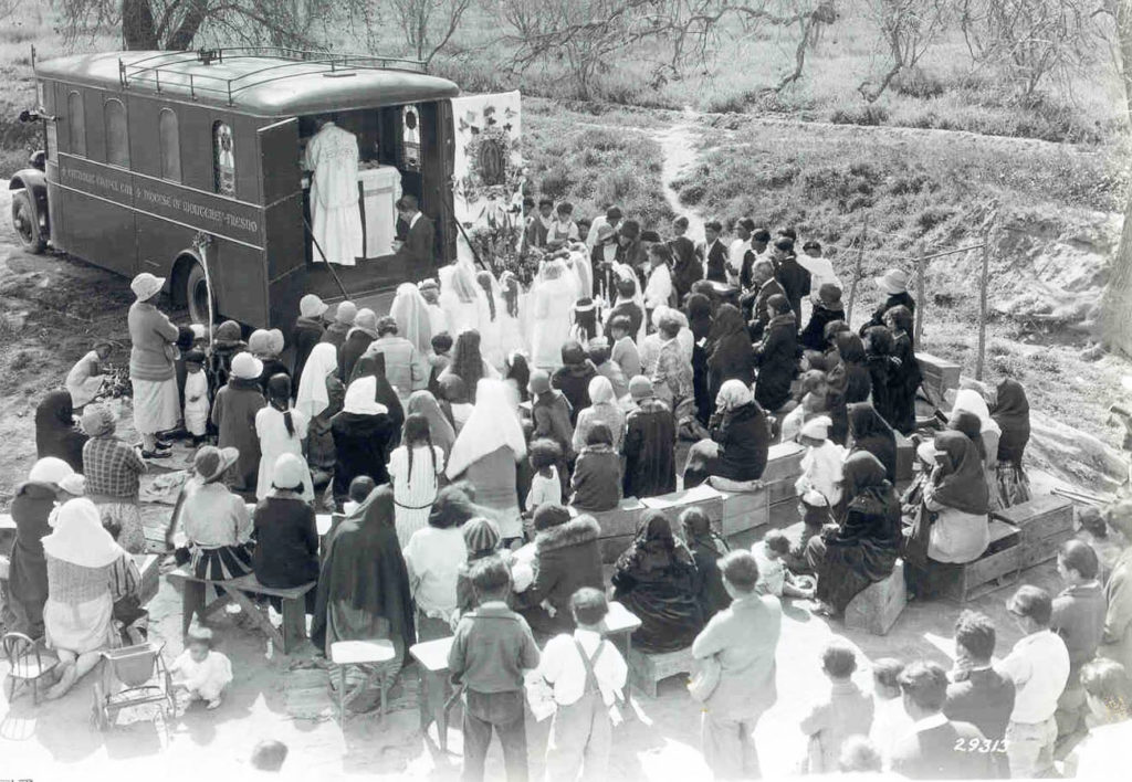 Catholic Extension Chapel car in Fresno California in 1929