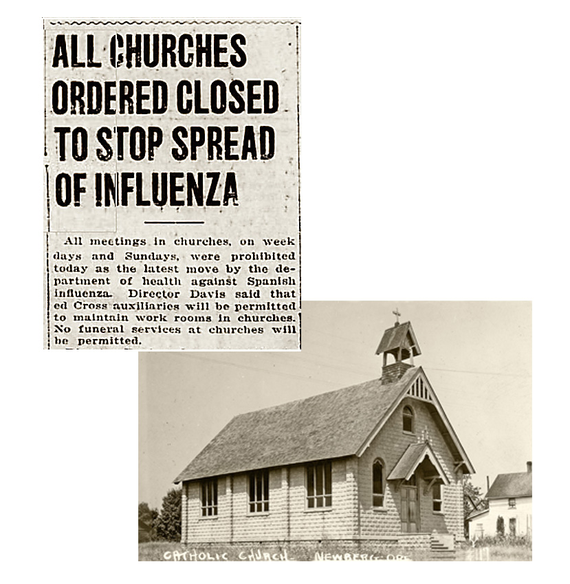 1918 Flu vs Coronavirus, newspaper clippings from 1918 showing closed churches
