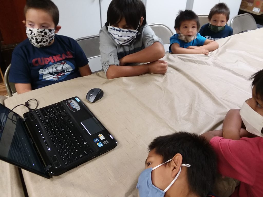 children doing remote learning on the athead Indian Reservation